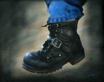 Harley Davidson Motorcycle Painting - Boot 2 by Luis  Navarro