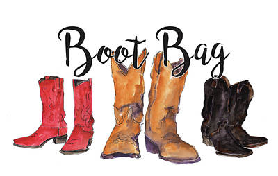 Painting - Boot Bag Watercolor Painting By Kmcelwaine by Kathleen McElwaine