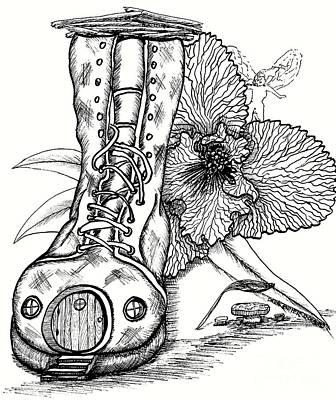 Fairy House Drawing - Boot Fairy House And Orchid by Dawn Boyer