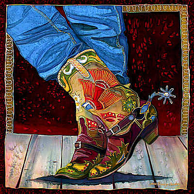 Cowboy Collector Painting - Boot Fancy by Nancy Cawdrey