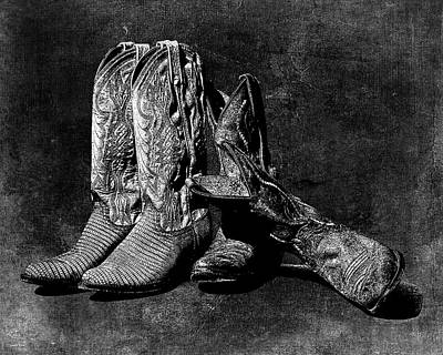 Photograph - Boot Friends - Art Bw by Lesa Fine