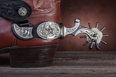 Tack Photograph - Boot Heel With Texas Spur by Tom Mc Nemar