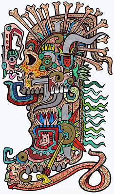 Mayan Drawing - Boot Skull #1 by Alex Amezola