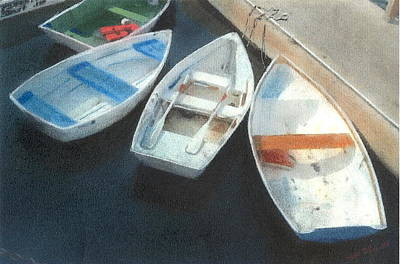 Pastel - Booth Bay Boats by John Brisson