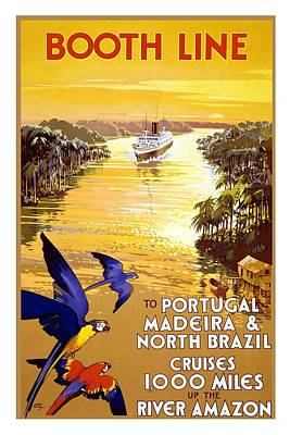 Amazon River Mixed Media - Booth Line - Amazon River, South Africa - Cruises - Retro Travel Poster - Vintage Poster by Studio Grafiikka