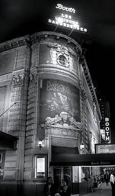Photograph - Booth Theater Marquee by Mark Andrew Thomas