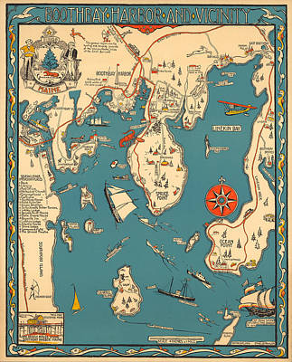 Royalty-Free and Rights-Managed Images - Boothbay Harbor and Vicinity - Vintage Illustrated Map - Pictorial - Cartography by Studio Grafiikka