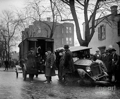 Bootleggers Car Wreck With Paddy Wagon Moonshine And Police Inspectors 1922 Art Print