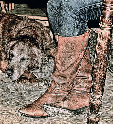Photograph - Boots And Buddy Muted Tones by Judy Vincent