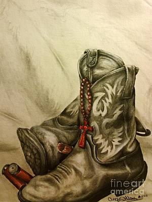 Crucifix Art Drawing - Boots And Shells by Angie Sellars