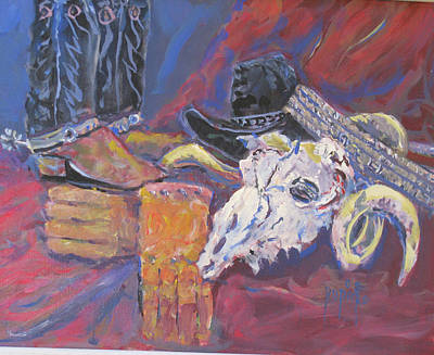 Painting - Boots And Skull by Linda Rupard
