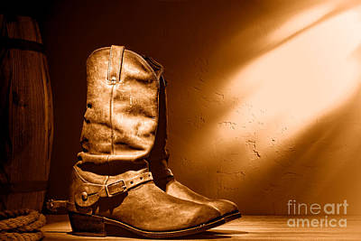 Photograph - Boots At The Hacienda - Sepia by Olivier Le Queinec