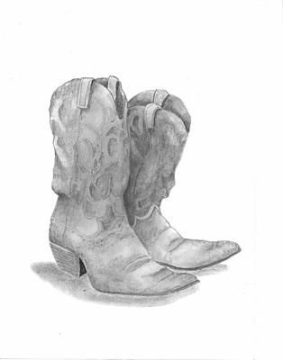 Old Boots Drawing - Boots by Barney Hedrick