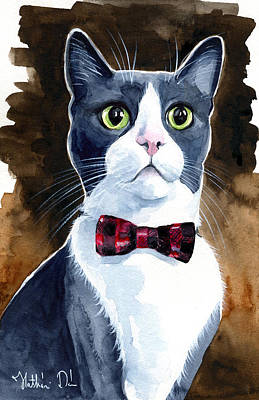 Painting - Boots - Blue Tuxedo Cat Painting by Dora Hathazi Mendes
