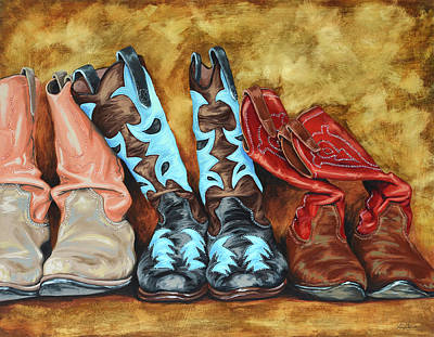 Cowboy Painting - Boots by Lesley Alexander