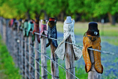 Boots On The Fence Art Print by Linda Unger