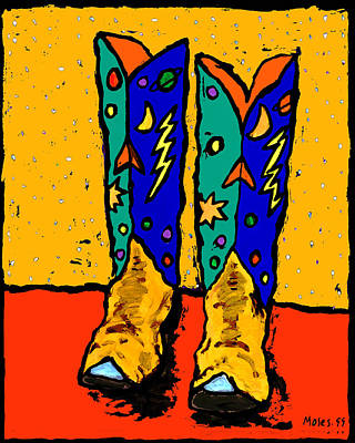 Painting - Boots On Yellow 24x30 by Dale Moses