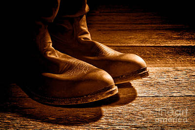 Photograph - Boots - Sepia by Olivier Le Queinec