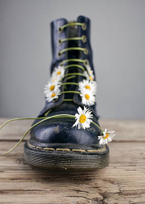 Boots With Daisy Flowers Art Print