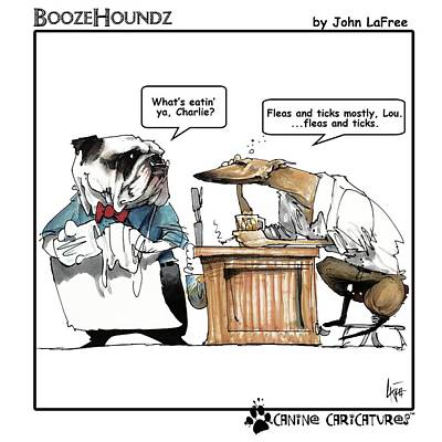 Drawing - Boozehoundz #1 Fleas by John LaFree