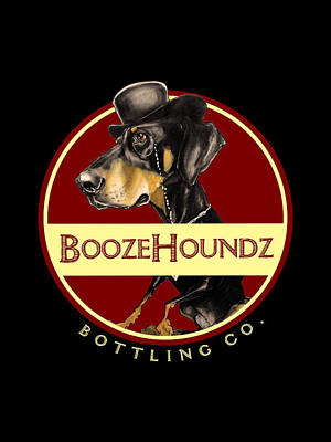 Doberman Drawing - Boozehoundz Bottling Co. by John LaFree