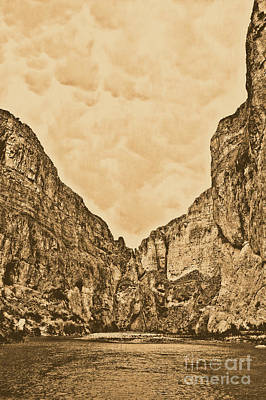 Photograph - Boquillas Canyon And Scalloped Clouds Big Bend National Park Texas Rustic Digital Art by Shawn O'Brien