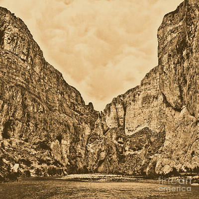 Photograph - Boquillas Canyon And Scalloped Clouds Big Bend National Park Texas Square Format Rustic Digital Art by Shawn O'Brien