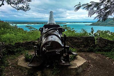 Bora Bora Wwii Cannon Overlooking The Lagoon Print by Mark Preston