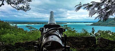 Bora Bora Wwii Cannon Overlooking The Lagoon Wide Angle Print by Mark Preston