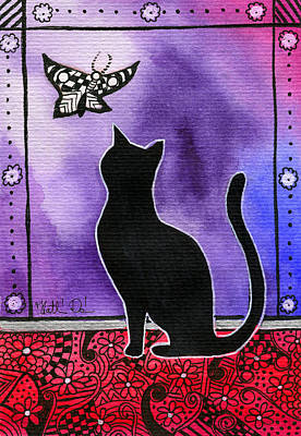Painting - Borboleta - Black Cat Card by Dora Hathazi Mendes