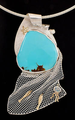 Silver Turquoise Jewelry - Bord De Mer Or Sea Shore Necklace by Marie-Claire Dole