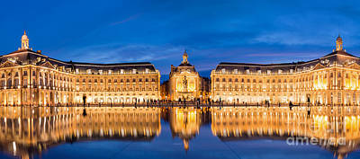 Wine Royalty-Free and Rights-Managed Images - Bordeaux by night by Delphimages Photo Creations