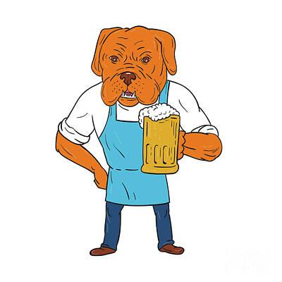 Mastiff Digital Art - Bordeaux Dog Brewer Mug Mascot Cartoon by Aloysius Patrimonio