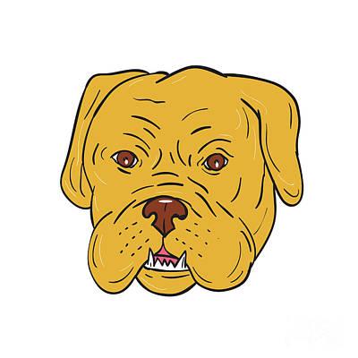 Mastiff Digital Art - Bordeaux Dog Head Cartoon by Aloysius Patrimonio