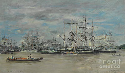 Painting - Bordeaux, Le Port, 1874  by Eugene Louis Boudin