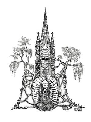 Drawing - Bordeaux Tree Castle Drawing by Rick Frausto