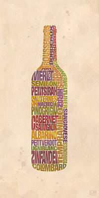 Cabernet Wine Painting - Bordeaux Wine Word Bottle by Mitch Frey