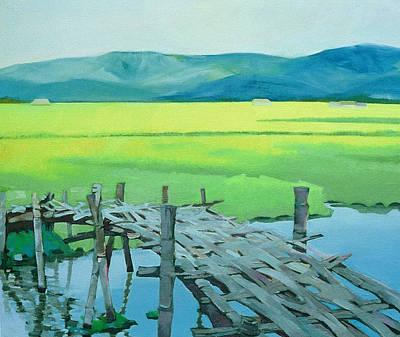Bamboo Farm Painting - Border Bridge by David Soong