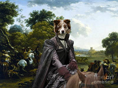 Painting - Border Collie Art Canvas Print - Landscape With A Hunting Party by Sandra Sij