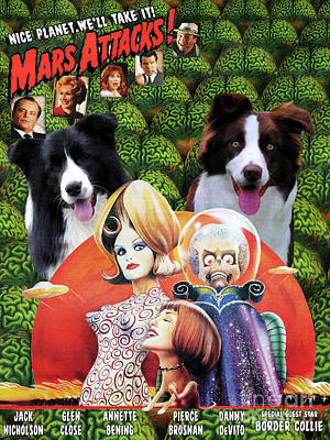 Painting - Border Collie Art Canvas Print - Mars Attacks Movie Poster by Sandra Sij