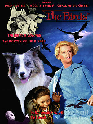 Painting - Border Collie Art Canvas Print - The Birds Movie Poster by Sandra Sij