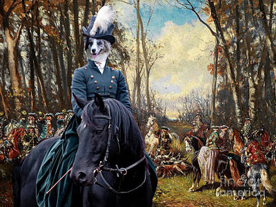 Painting - Border Collie Art Canvas Print - The Noble Hunt Party by Sandra Sij