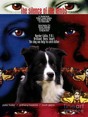 Painting - Border Collie Art Canvas Print - The Silence Of The Lambs Movie Poster by Sandra Sij