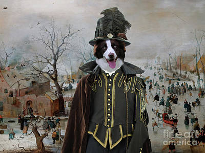 Painting - Border Collie Art Canvas Print - Winter Landscape With Skaters by Sandra Sij