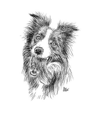 Digital Art - Border Collie Leo_thebordercollie by ZileArt