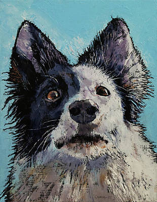 Abstract Dog Wall Art - Painting - Border Collie Portrait by Michael Creese