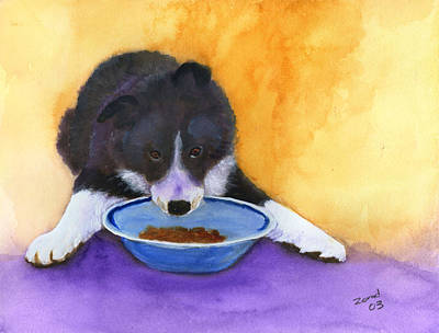 Painting - Border Collie Puppy by Mary Jo Zorad