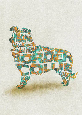Painting - Border Collie Watercolor Painting / Typographic Art by Inspirowl Design