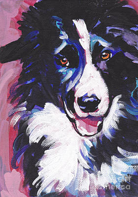 Dog Portrait Painting - Border Patrol by Lea S