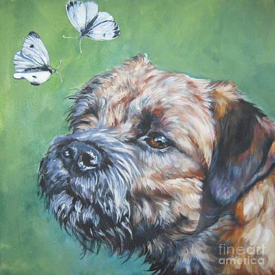 Border Terrier With Butterflies Art Print
